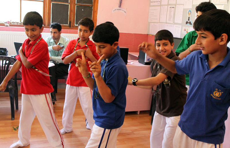 Students dancing in excitement