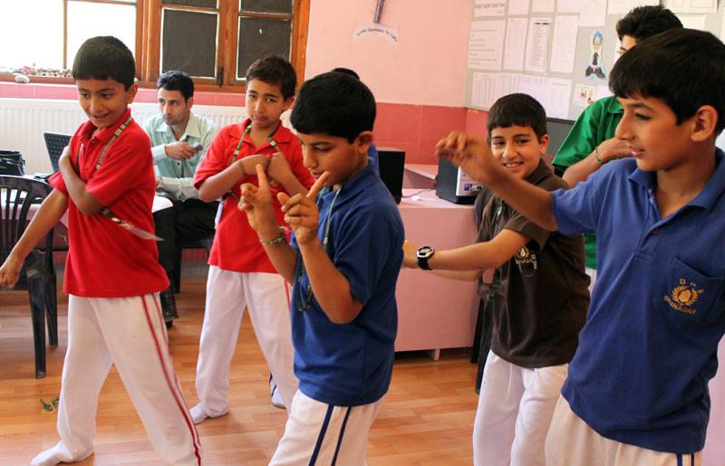 Students dancing in excitement